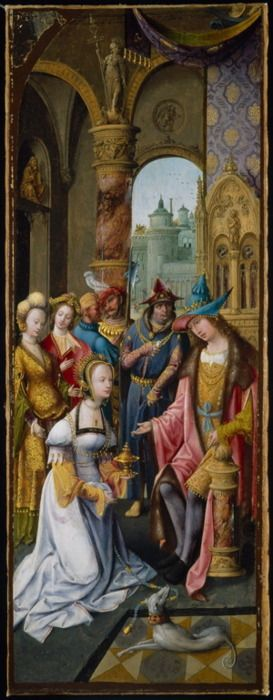 Antwerp Mannerist (Master of the Antwerp Adoration Group)  Netherlandish  King Solomon Receiving the Queen of Sheba, Art Institute of Chicago. Sheba has daggs on her sleeves