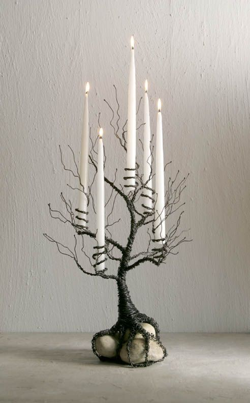 Photo of Wire tree candle holder. Repinned from Vital Outburst clothing vitaloutburst.com