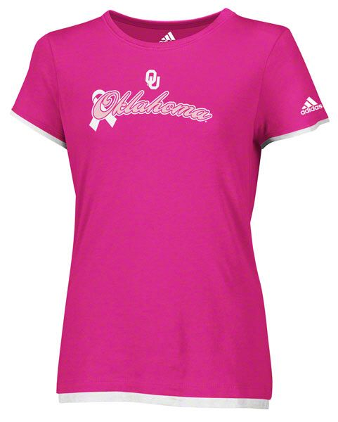 pretty nice 256dc 4591b Oklahoma Sooners Women s adidas Pink Ribbon Script Breast Cancer Awareness  Tshirt