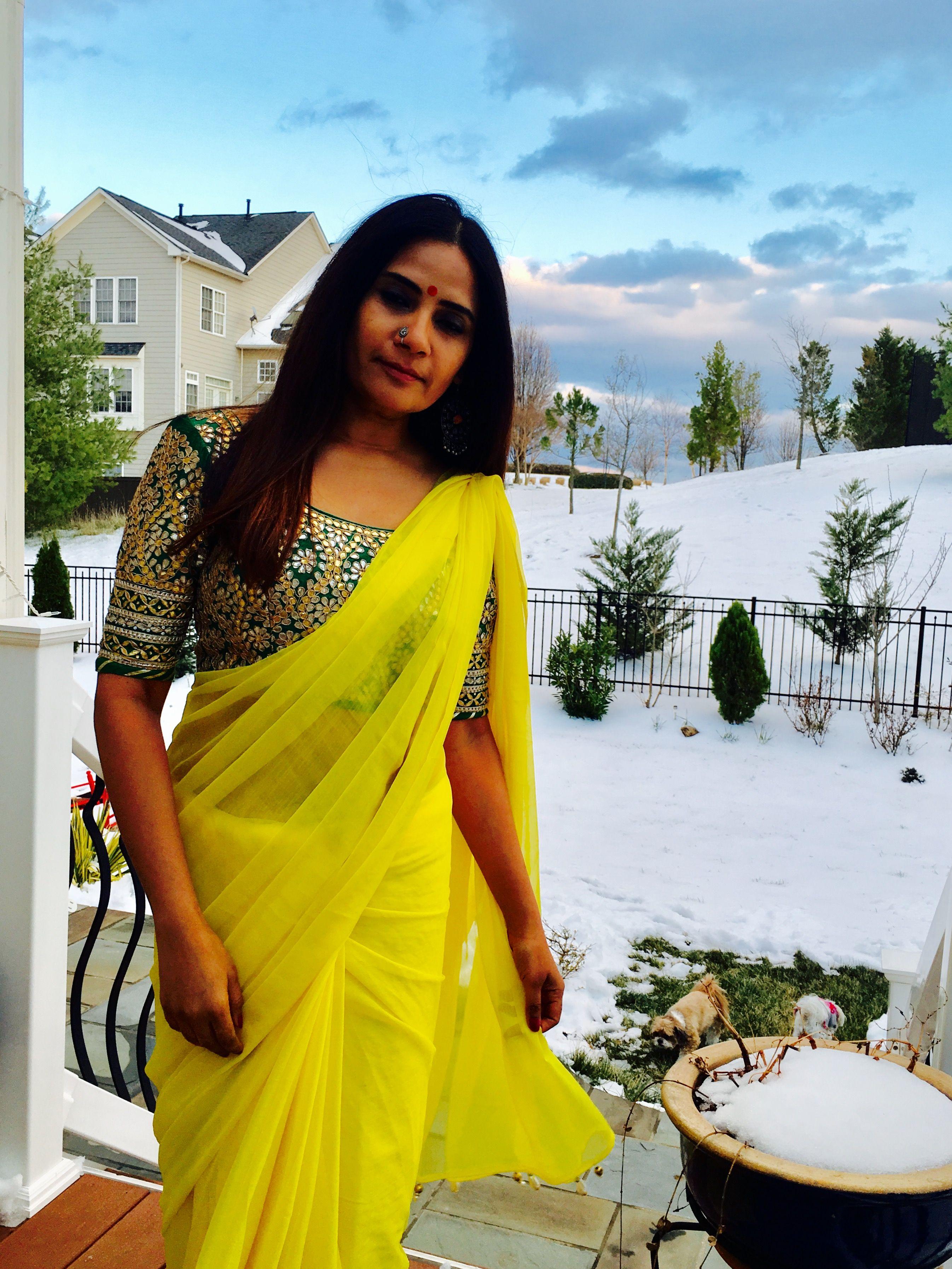 Green gota patti blouse saree pinterest saree