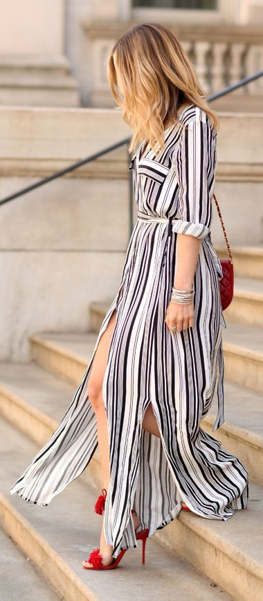 9dd8eb34b5c Black And White Striped Maxi Shirt Dress by Brooklyn Blonde ...