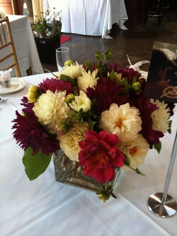 Burgundy and white dahlia centerpieces my wedding