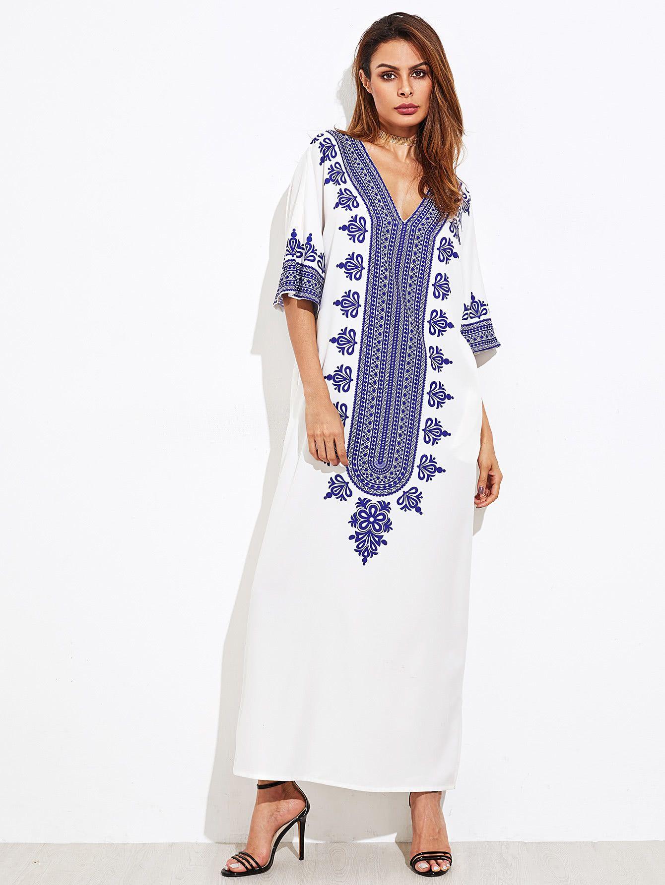 85f618348a Ornate Print Kimono Sleeve Dress -SheIn(Sheinside) | 2018 • style ...