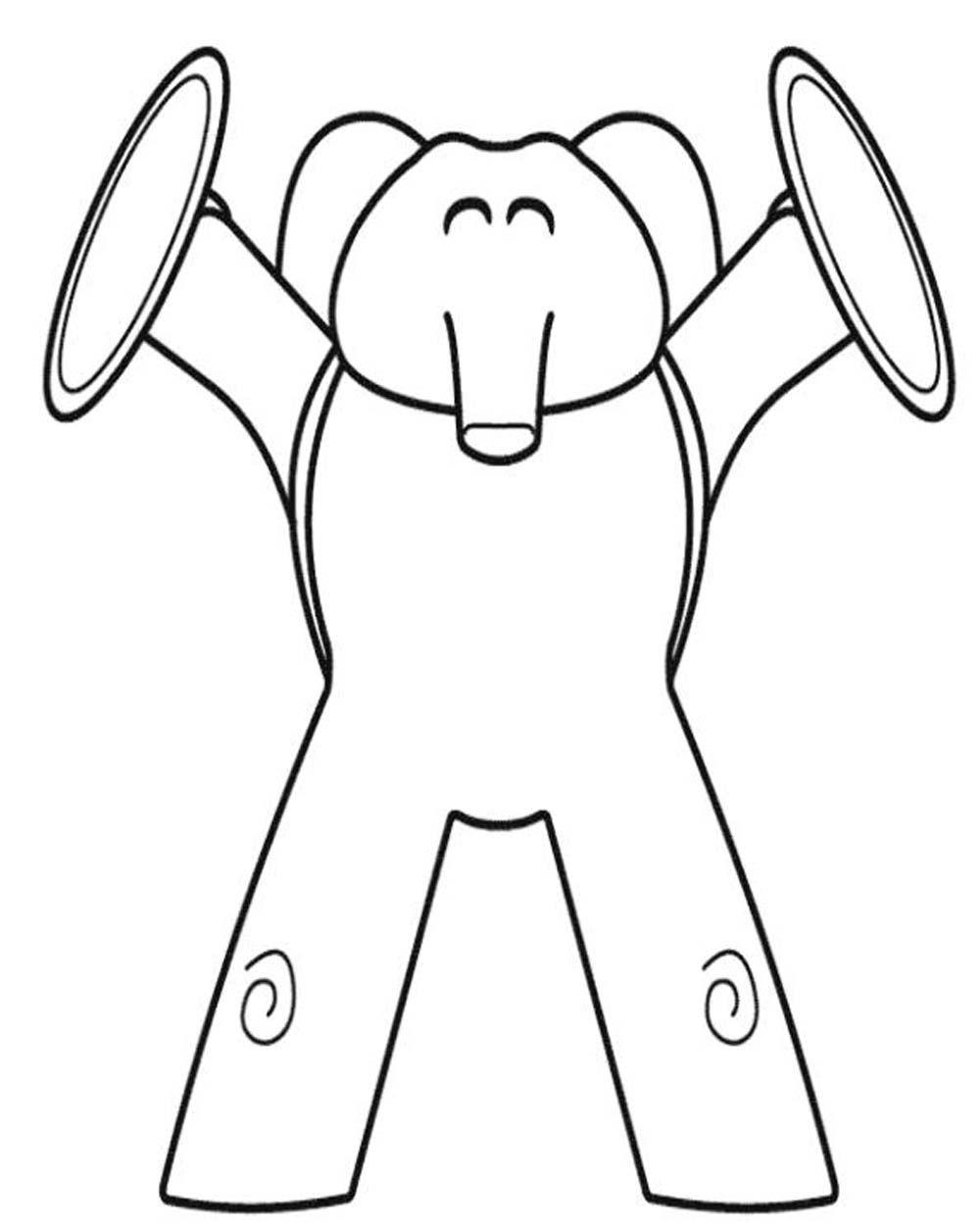 Eli Elefante Tocando Musica Con Platillos S Pocoyo Coloring