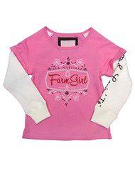 Girls 4-6X Farm Girl Roll Sleeve Thermal Hang Down Shirt