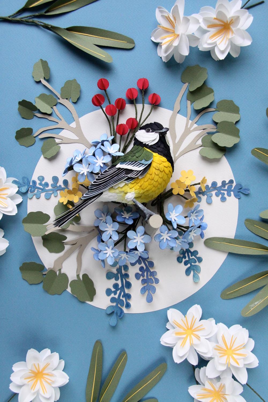 Photo of New Paper Bird Sculptures Juxtaposed With International Stamps by Diana Beltran Herrera
