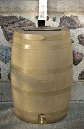 Tan Flat Back Rain Water Barrel