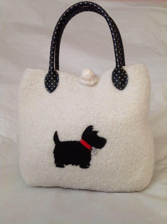 Bag Scottie Dog Purse Handbag Crochet Felted