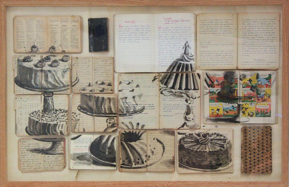 paradise.book online!, 2011; libri antichi e non, inchiostro, chiodi, legno, cm 65x100
