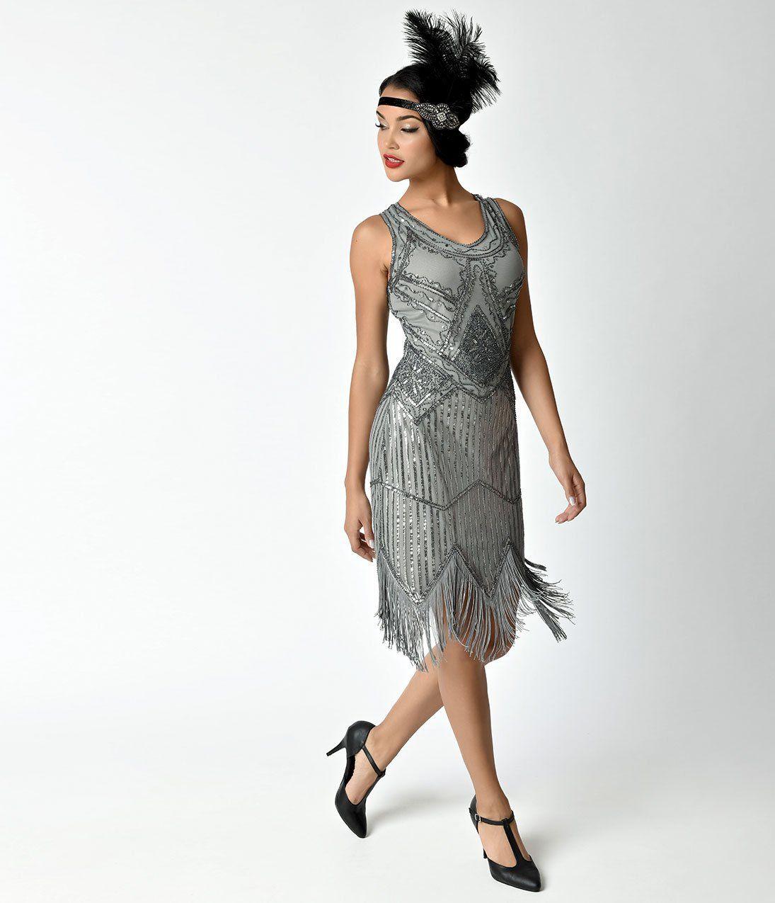 S grey beaded sequin juliette fringe flapper dress us party
