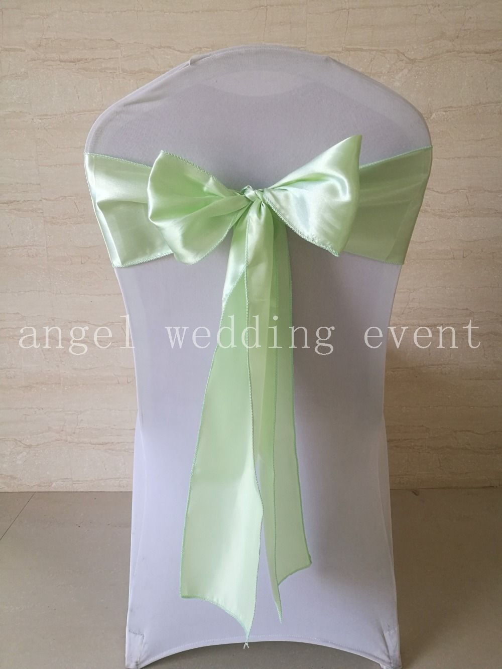Wholesale 100pcs Light Green Baby Green Satin Chair Sashes Bows Ribbon 15cmx275cm Wedding Hot Free Shipping Chair Sashes Green Satin Sash