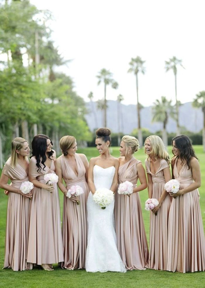 Simple Champagne Wedding Ideas with Luxe Appeal Wrap Bridesmaid DressesChampagne
