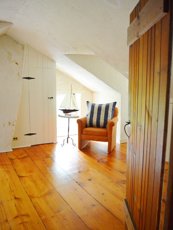 Wide Plank Pine Floor And Even With The Lower Slanted Ceiling This Room Still Feels Open And Airy Wood Floors Wide Plank Attic Flooring Pine Wood Flooring