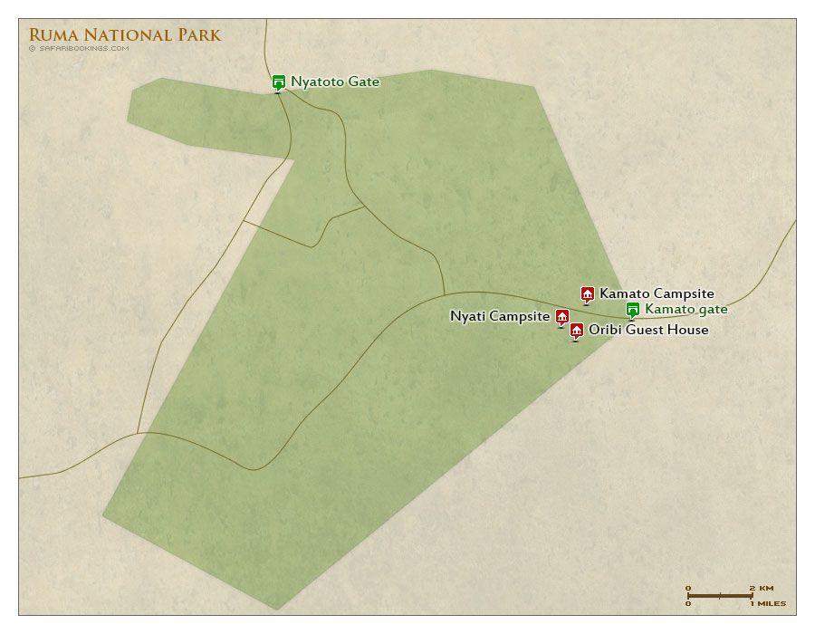 Detailed Map Of Ruma National Park In Kenya For A Ruma Travel - Kenya rivers map