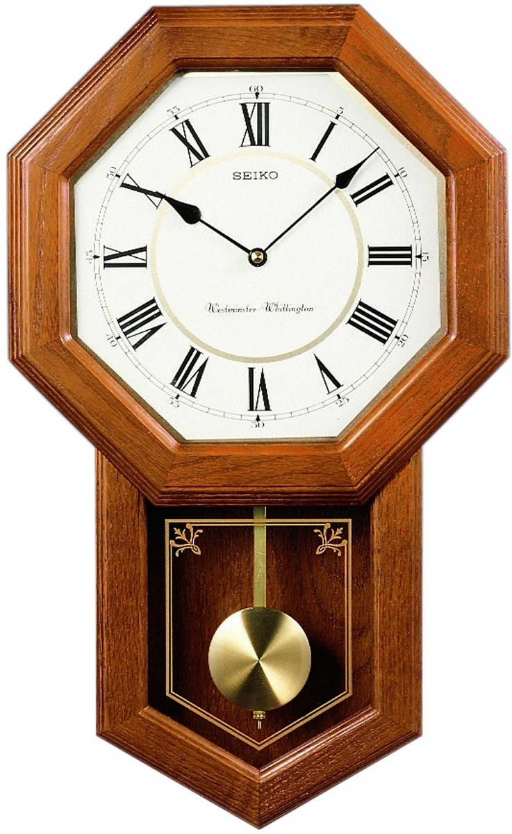 New Seiko Clocks Wall Clock Dark Brown Solid Oak Qxh110blh