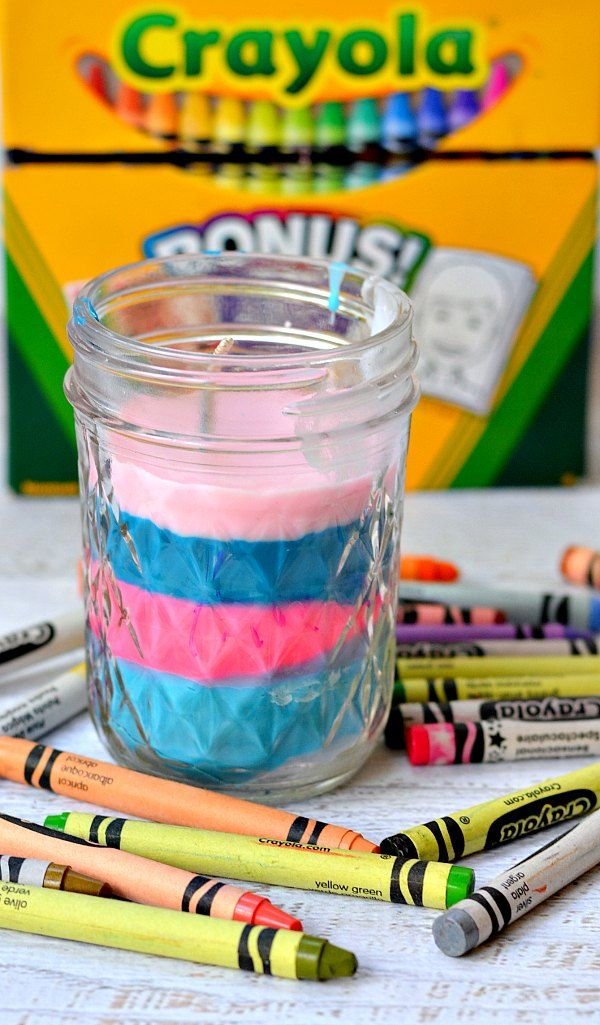 Turn old crayons into a new colorful candle! Perfect craft