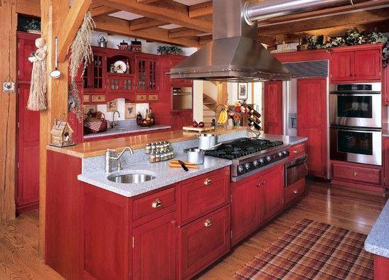 Decoration Cuisine Bois Et Rouge  Ide De Modle De Cuisine