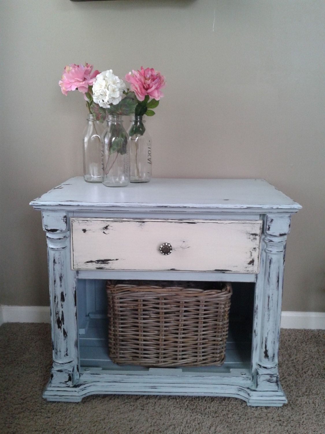 Shabby Chic Coastal Blue Off White End Table Night by 2ndEssence