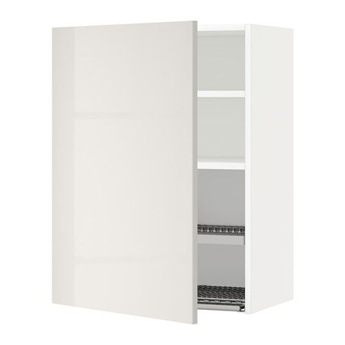 METOD Wall cabinet with dish drainer White/ringhult light grey 60x80