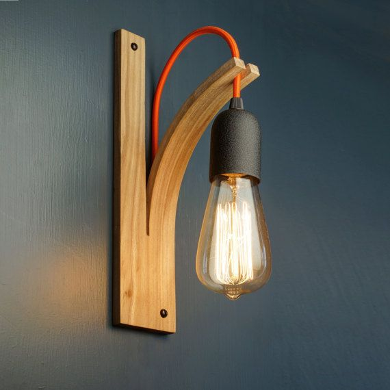 This Listing Is For Hardwiring Directly Into Mains No Plug See Separate Listings For Wall Lights Which P Wooden Lamps Design Bracket Lights Handmade Lighting