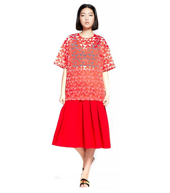 Front Row Shop Organza Top // If you're more of a separates type of girl, try this dramatic top with a full red skirt.
