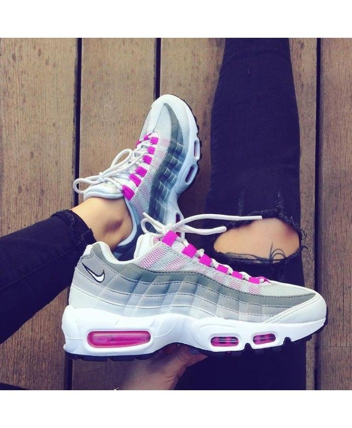 a9a9f075198 Pink Grey White Nike Air Max 95 Trainers
