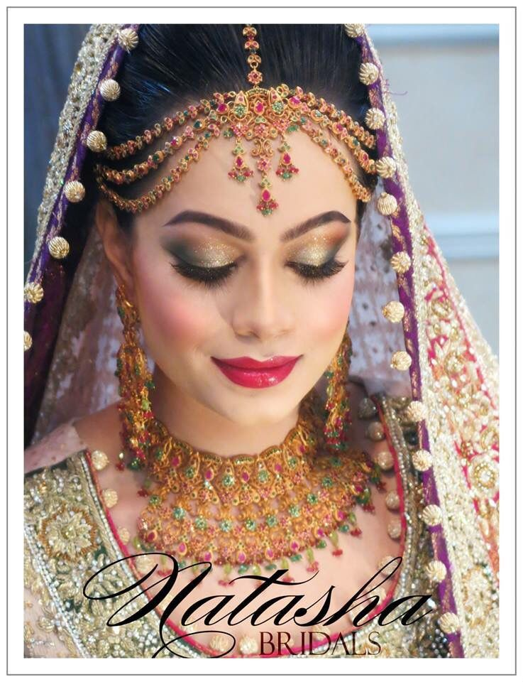 Pakistani/Indian gold bridal jewelry with red and green