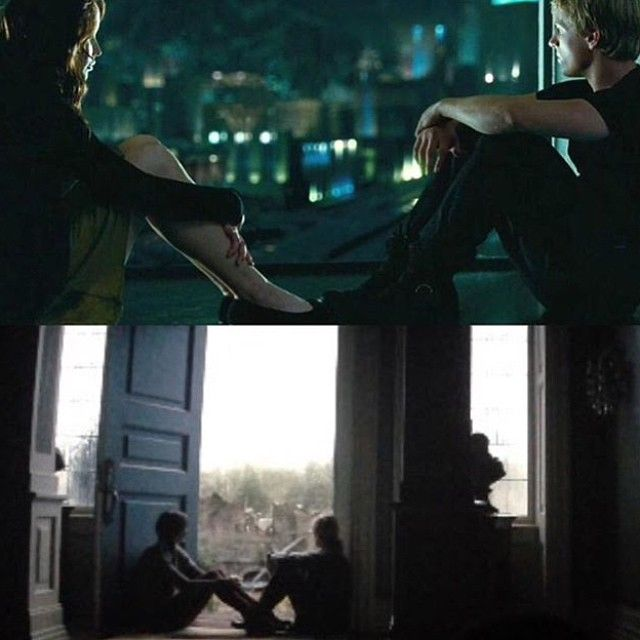 Katniss & Peeta in the first movie & the last one. Exactly ...