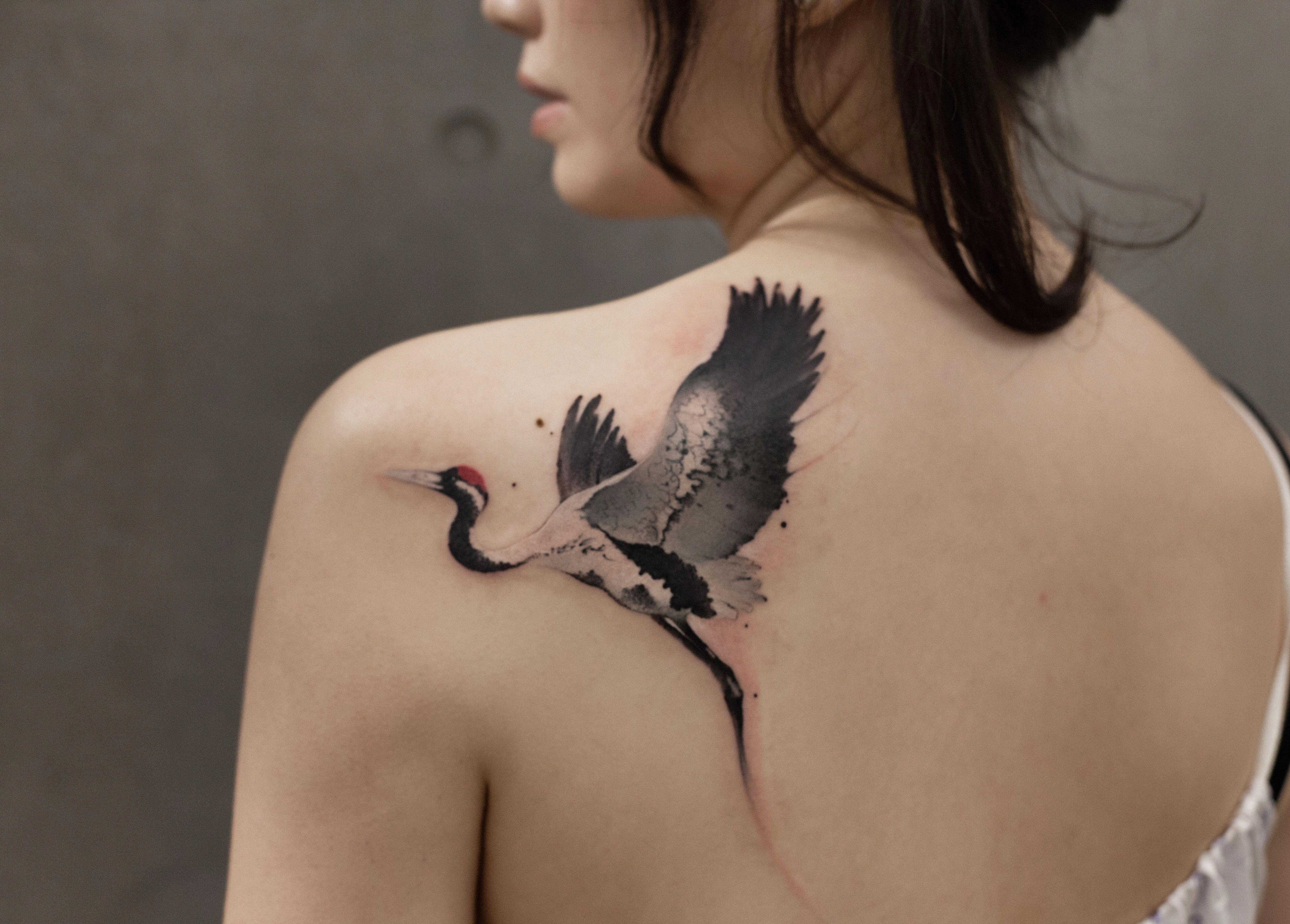Tattoos In Japanese Prints Japanesetattoos Crane Tattoo Tattoo Styles Japanese Tattoo Symbols