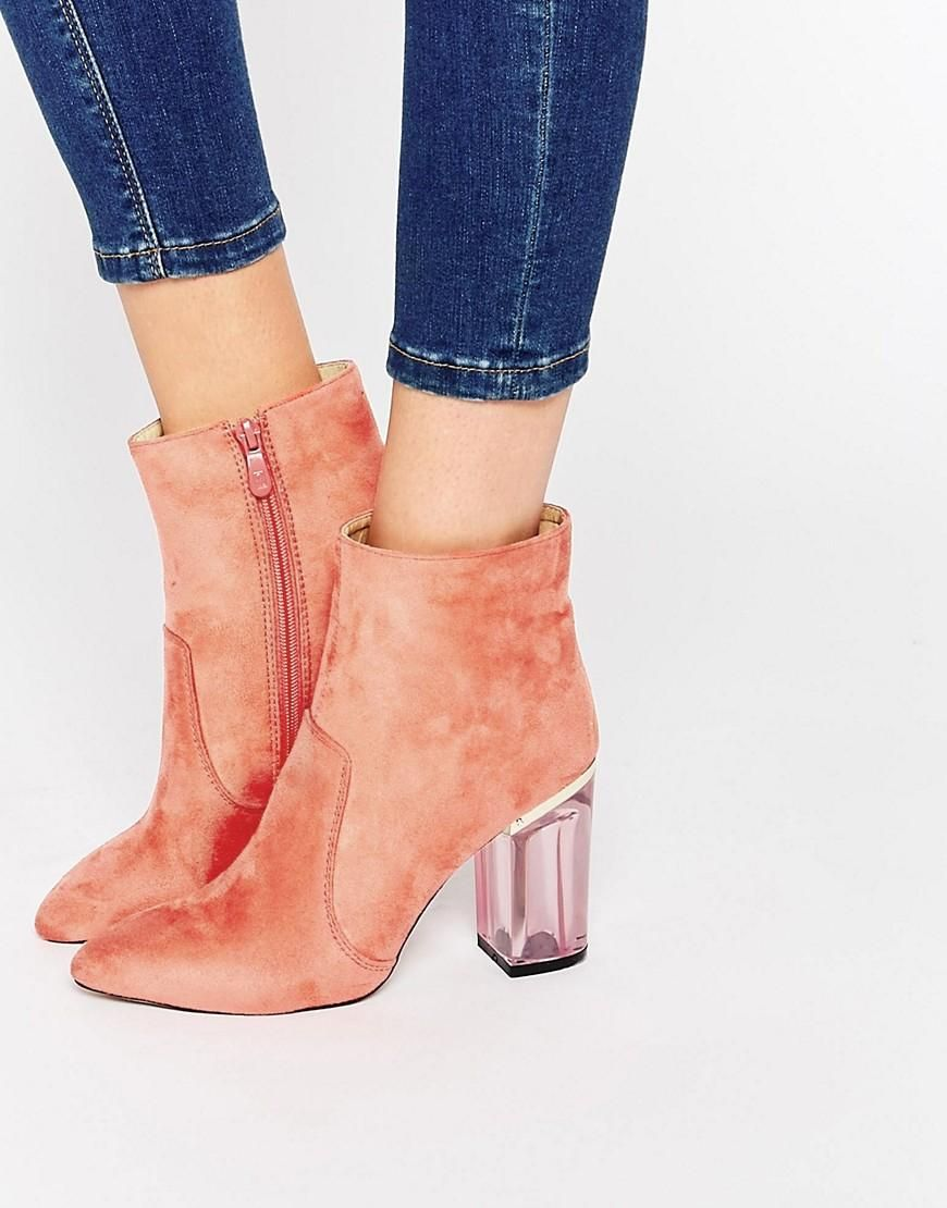Pink   Public Desire Cate Pink Clear Heel Ankle Boot at ASOS