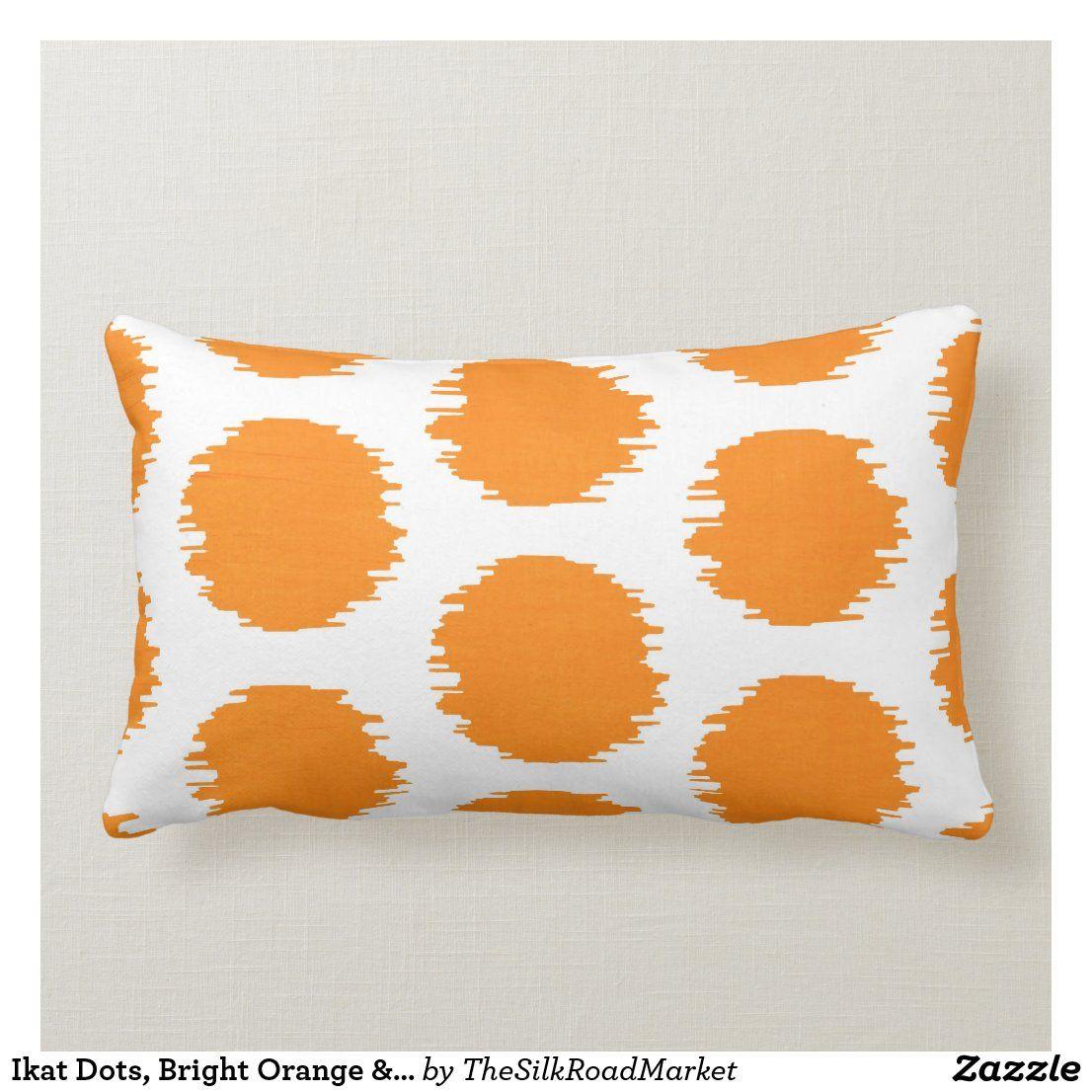 Ikat Dots Bright Orange White Print Lumbar Pillow Zazzle Com Ikat Dot Pillows Lumbar Pillow