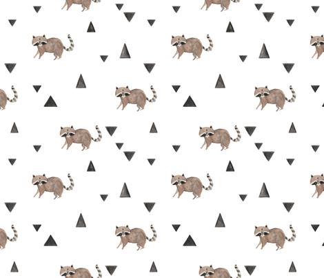 Watercolor Triangle Raccoon fabric by pacemadedesigns on Spoonflower - custom fabric