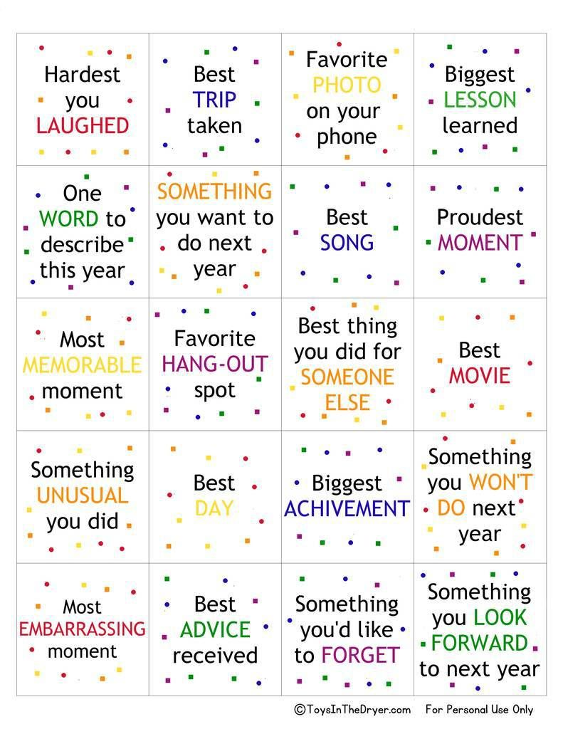 free printable new year's game New year's games, New