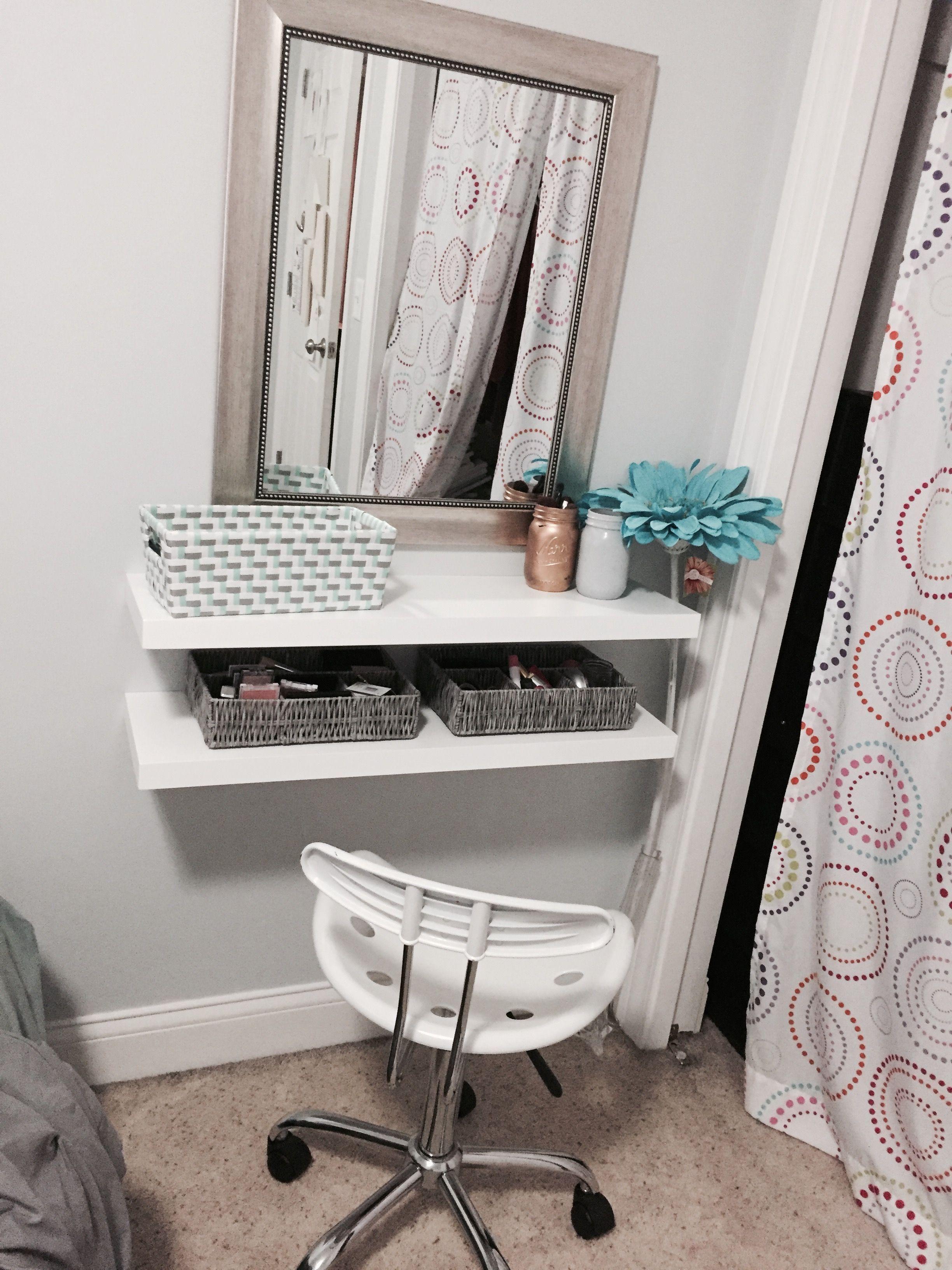 Floating Shelves Makeup Vanity room decor, Diy vanity