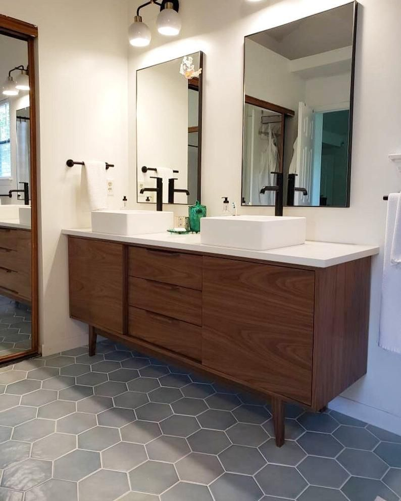 Free Shipping Hand Built Mid Century Style 6 Bathroom Etsy Mid Century Modern Bathroom Modern Bathroom Bathroom Design [ 991 x 794 Pixel ]