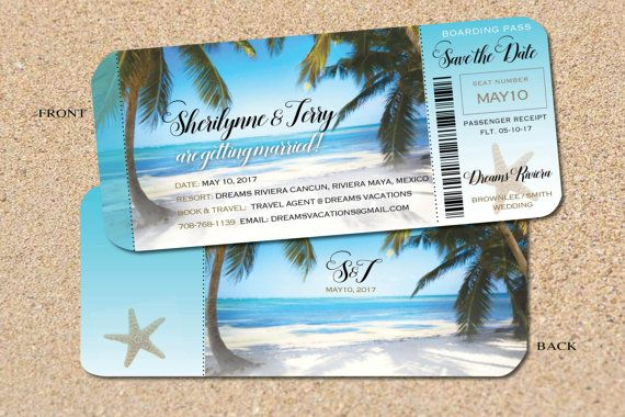 When To Send Out Wedding Invitations For Destination Wedding: Send Out Tropical Save The Date Boarding Passes For Your