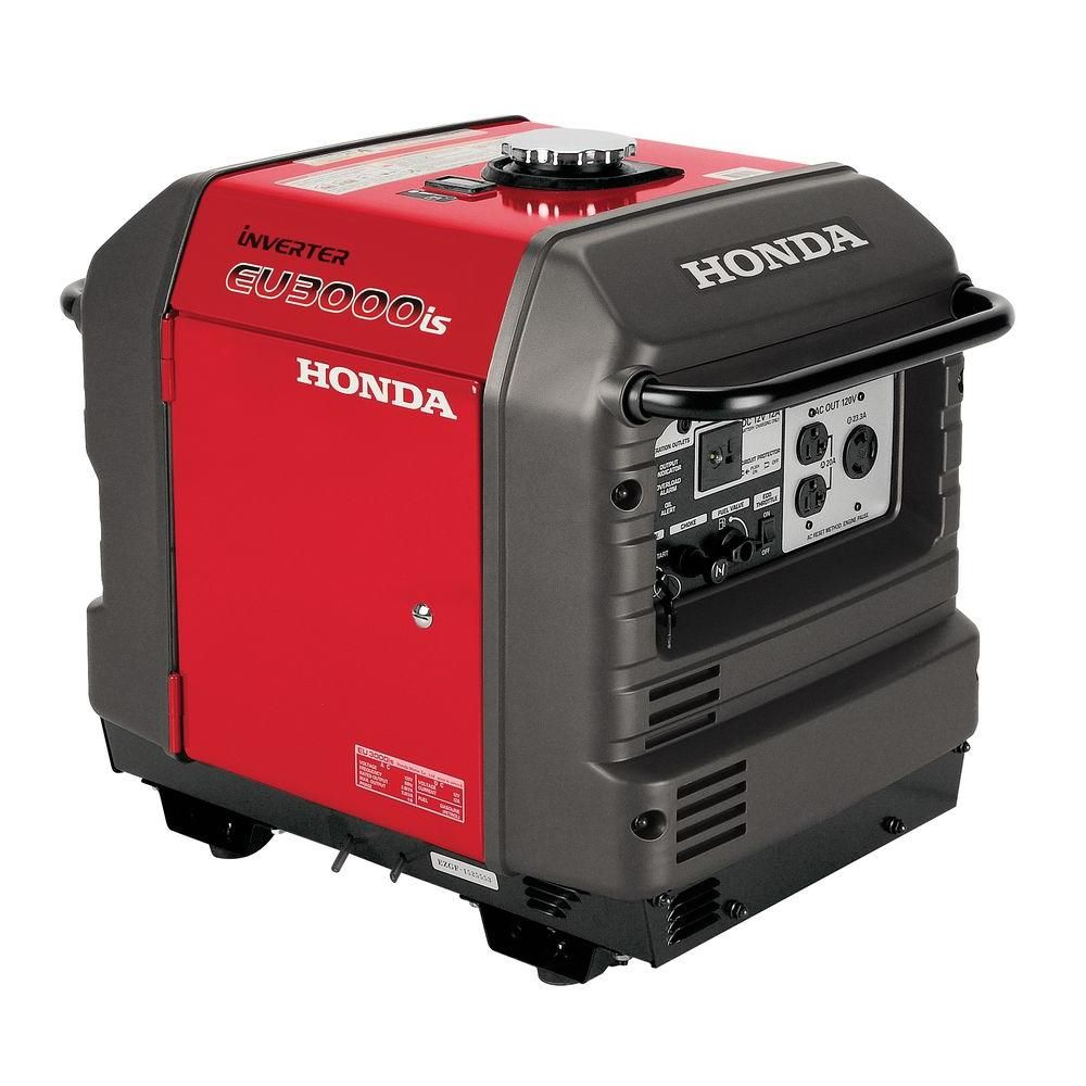 Honda 3000 Watt Gasoline Powered Electric Start Portable Generator With Eco Throttle And Oil Alert Eu3000is The Home Depot Quiet Portable Generator Honda Generator Inverter Generator