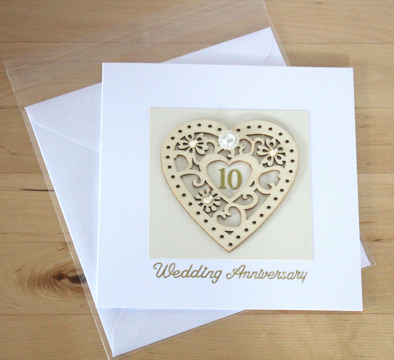 10th Wedding Anniversary card gift, 10th Anniversary