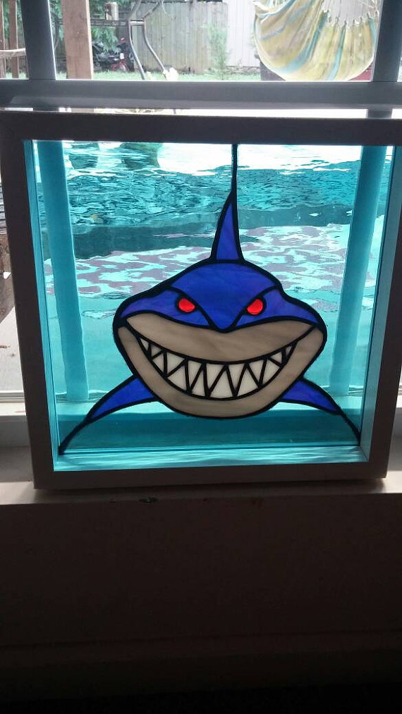 Shark Stained glass suncatcher, Stained glass panel, bruce ...