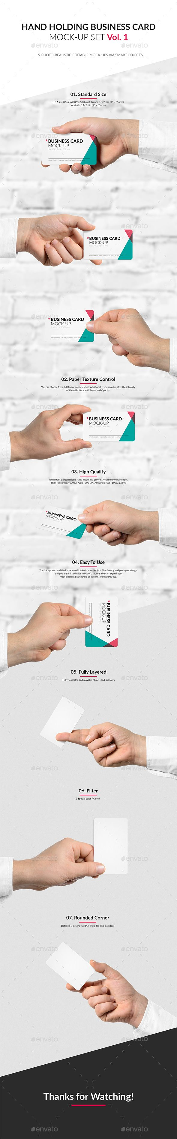 Hand #Holding #Business Card Mock-Up Set Vol.1 - Business Cards ...