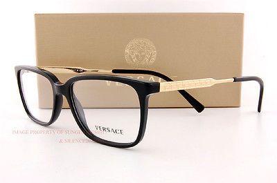 4a63772e7e0f Brand New VERSACE Eyeglasses Frames 3209 GB1 BLACK Men 100% Authentic SZ 55