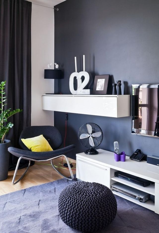 Wohnzimmer Wandfarbe Anthrazit Weisses Tv Sideboard