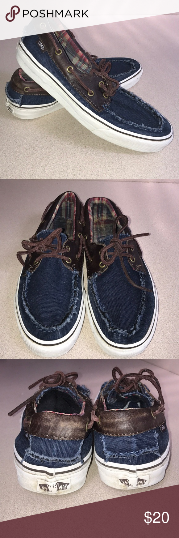 b5be69fa99 Vans denim   leather boat shoes Men s size 9   women s size 10 1 2 Loved-  but lots of life left in these bad boys!! Vans Shoes Boat Shoes