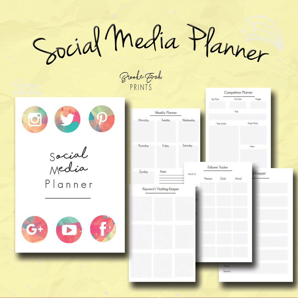 Social Media Planner, Business Organizer, Business Kit, Weekly ...