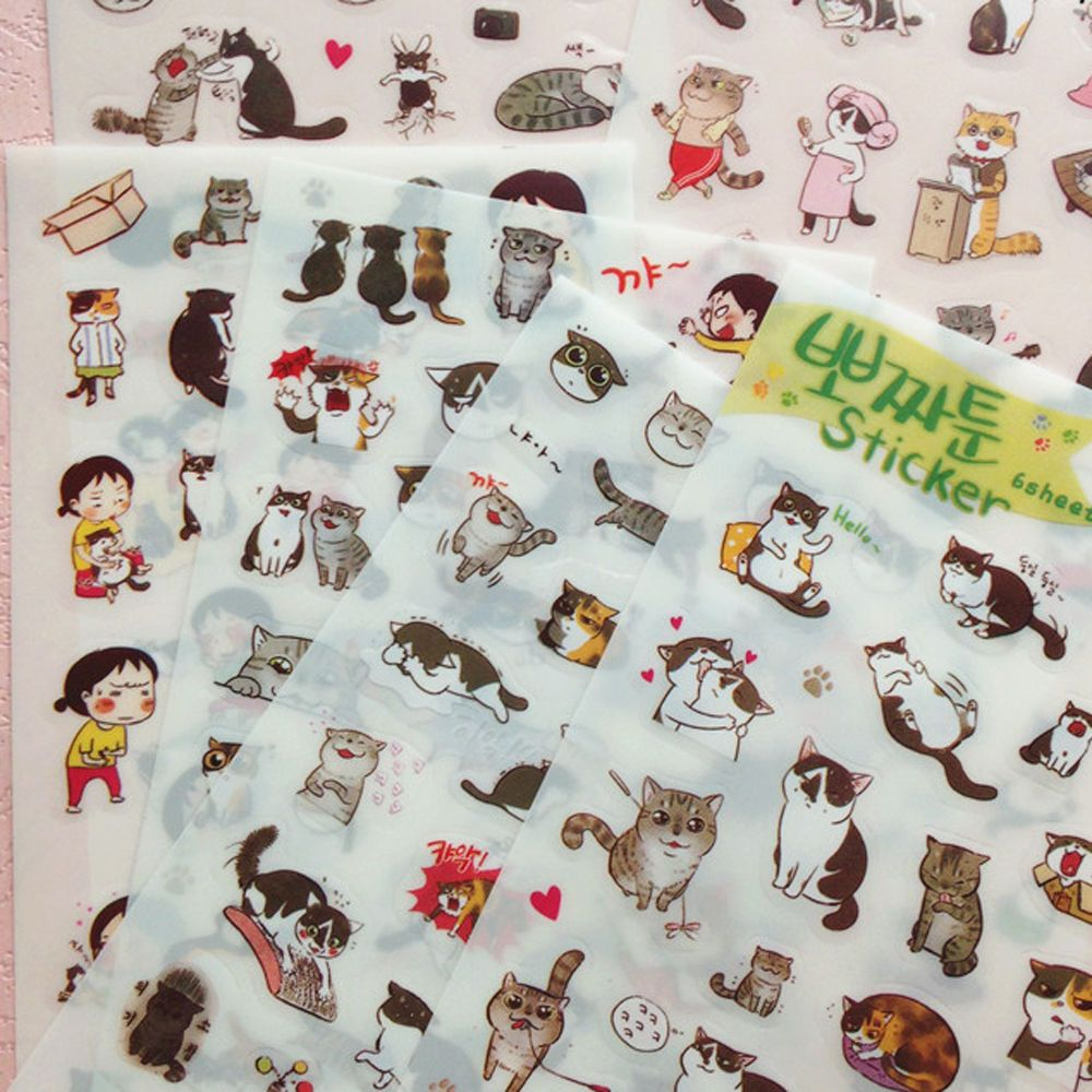 6 Sheet Portable Funny Cat Album Diary Calendar Sticker Label Scrapbooking Craft