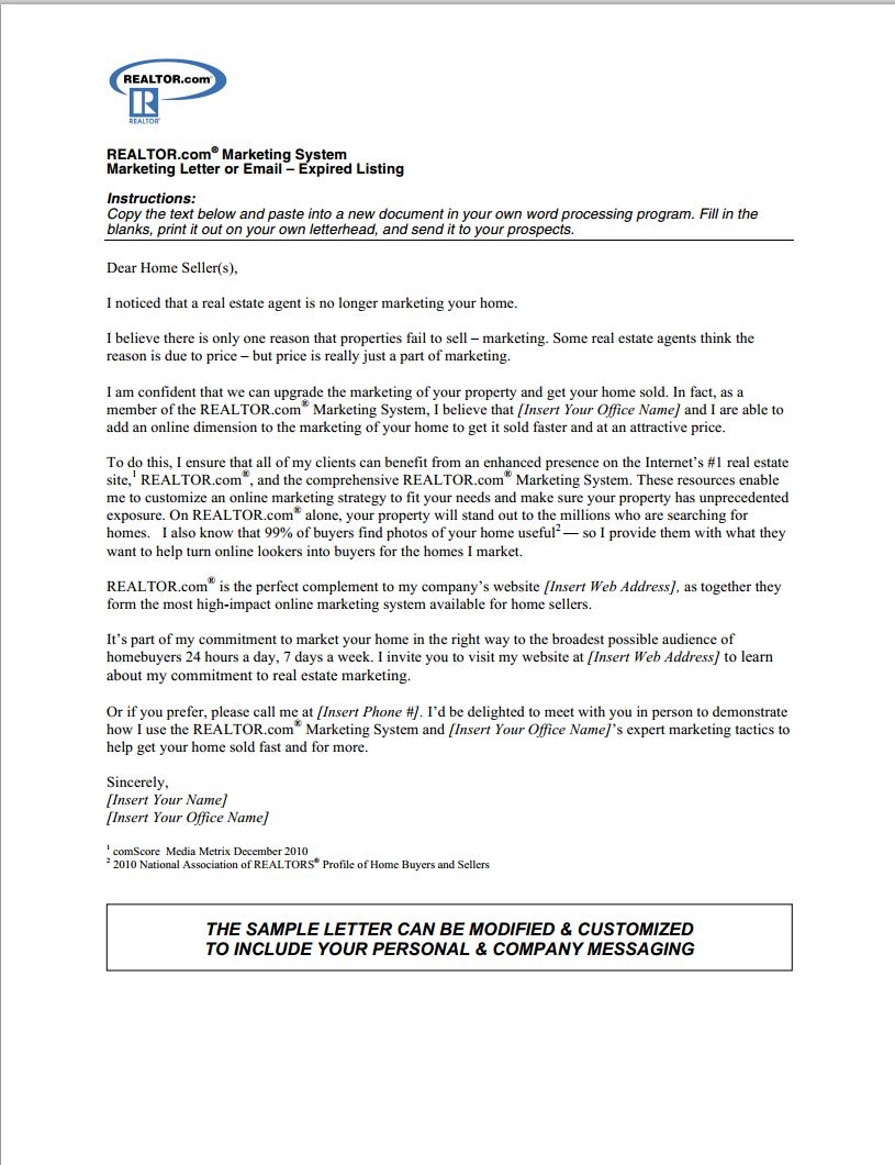 Real Estate Prospecting Letter Template Samples