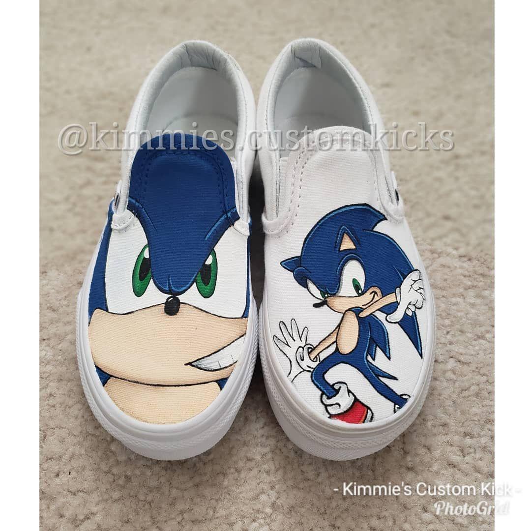 Last Christmas Order Sonic The Hedgehog Kimmiescustomkicks Kimberlys Creations Handpaintedshoes Customshoes Sonic Shoes Hand Painted Shoes Painted Shoes