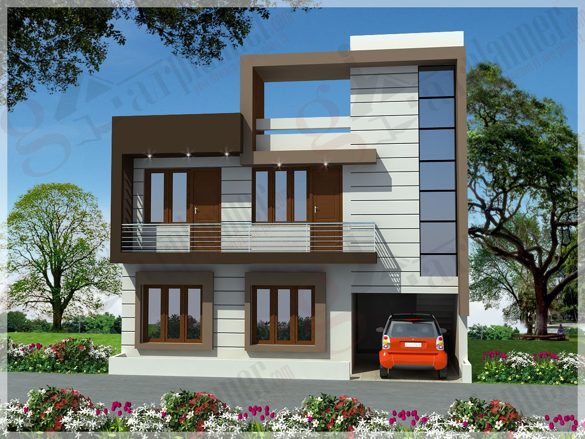 Elevations of residential buildings in indian photo for Indian home front design