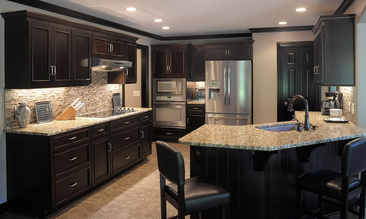 Marvellous Smart Modern Kitchen Design Ideas In Natty Black Colored Furniture Setting With Nice Contrasting Light Colored Granite Countertops Gorgeous