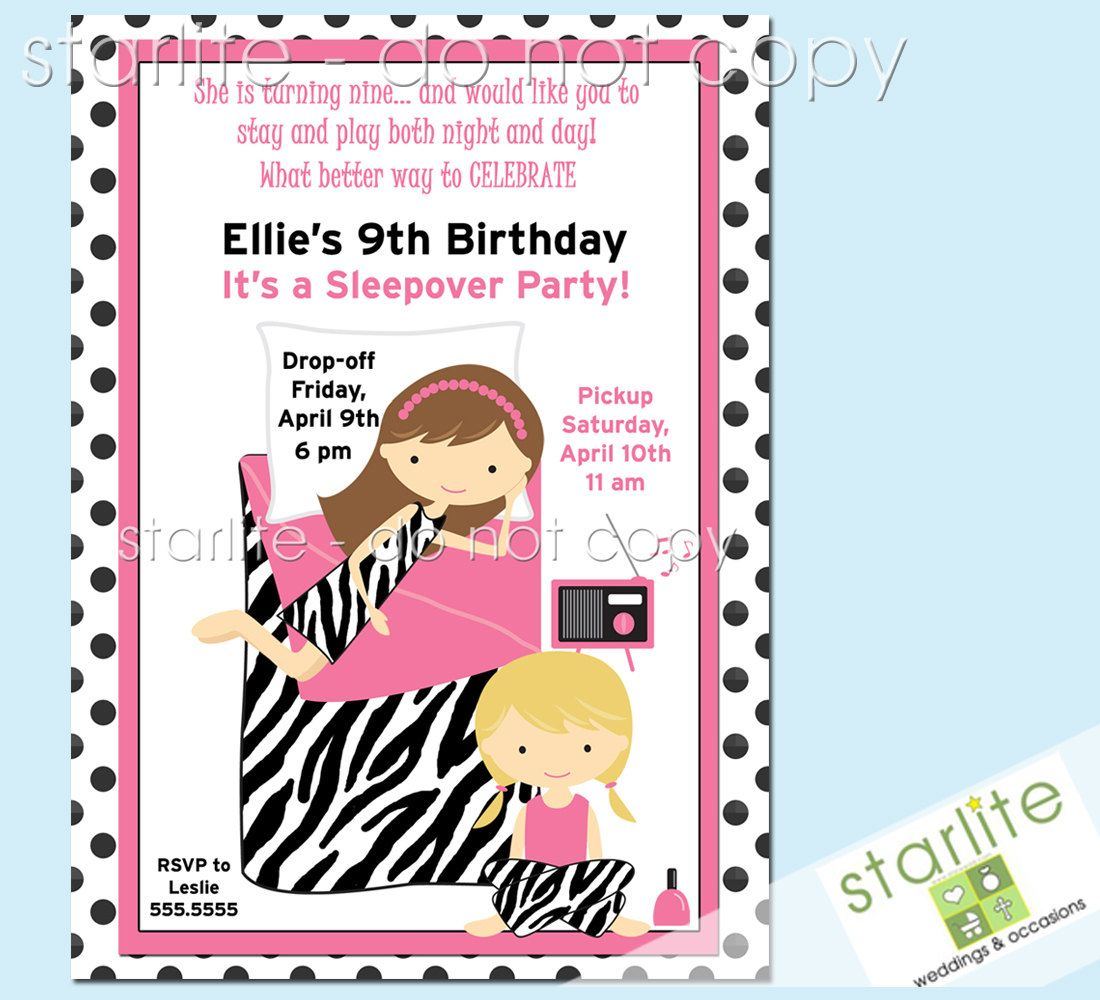 Girls Sleepover birthday party invitation - Slumber Party invitation ...